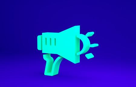 Green Megaphone icon isolated on blue background. Speaker sign. Minimalism concept. 3d illustration 3D render