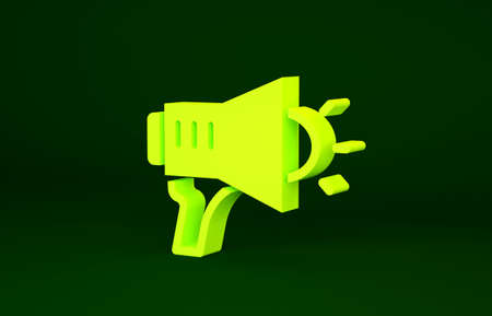 Yellow Megaphone icon isolated on green background. Speaker sign. Minimalism concept. 3d illustration 3D render Stockfoto