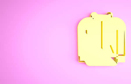 Yellow Baseball t-shirt icon isolated on pink background. Baseball jersey, sport uniform, raglan t-shirt sport. Minimalism concept. 3d illustration 3D render