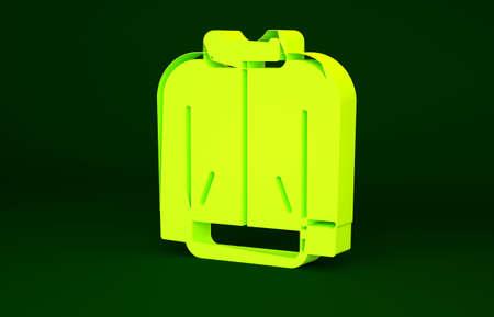 Yellow Baseball t-shirt icon isolated on green background. Baseball jersey, sport uniform, raglan t-shirt sport. Minimalism concept. 3d illustration 3D render