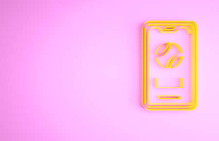 Yellow Smartphone with baseball ball on the screen icon isolated on pink background. Online baseball game for mobile phone. Minimalism concept. 3d illustration 3D render
