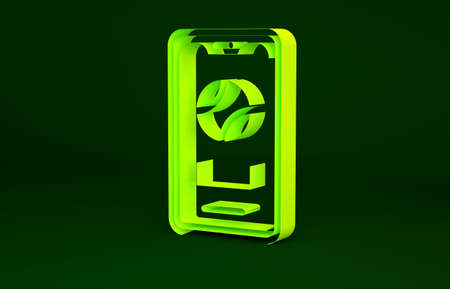 Yellow Smartphone with baseball ball on the screen icon isolated on green background. Online baseball game for mobile phone. Minimalism concept. 3d illustration 3D render Stockfoto