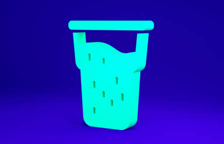 Green Glass of beer icon isolated on blue background. Minimalism concept. 3d illustration 3D render