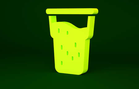 Yellow Glass of beer icon isolated on green background. Minimalism concept. 3d illustration 3D render