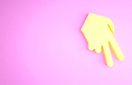 Yellow Baseball glove icon isolated on pink background. Minimalism concept. 3d illustration 3D render Stockfoto