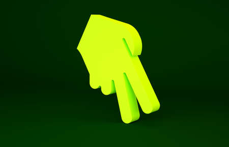 Yellow Baseball glove icon isolated on green background. Minimalism concept. 3d illustration 3D render