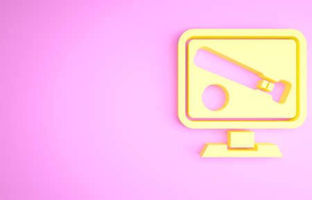 Yellow Monitor with baseball ball and bat on the screen icon isolated on pink background. Online baseball game. Minimalism concept. 3d illustration 3D render