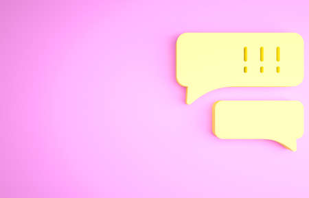 Yellow Speech bubble chat about baseball game icon isolated on pink background. Message icon. Communication or comment chat symbol. Minimalism concept. 3d illustration 3D render Stockfoto