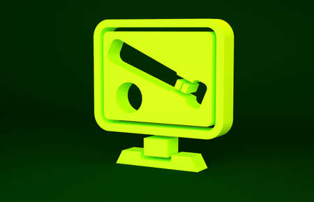 Yellow Monitor with baseball ball and bat on the screen icon isolated on green background. Online baseball game. Minimalism concept. 3d illustration 3D render