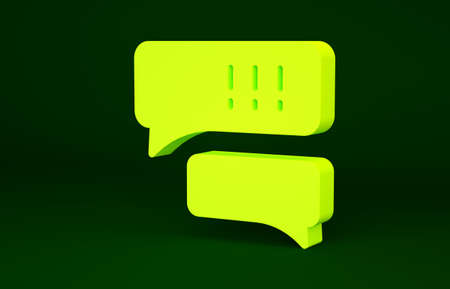 Yellow Speech bubble chat about baseball game icon isolated on green background. Message icon. Communication or comment chat symbol. Minimalism concept. 3d illustration 3D render