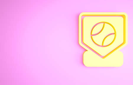 Yellow Baseball base icon isolated on pink background. Minimalism concept. 3d illustration 3D render