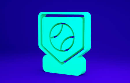 Green Baseball base icon isolated on blue background. Minimalism concept. 3d illustration 3D render