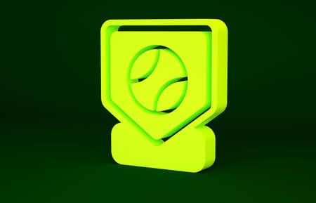 Yellow Baseball base icon isolated on green background. Minimalism concept. 3d illustration 3D render Stockfoto