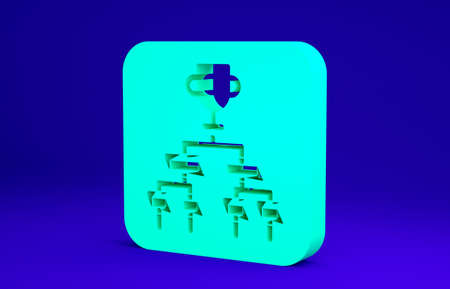 Green Results and standing tables scoreboard championship tournament bracket icon isolated on blue background. Minimalism concept. 3d illustration 3D render