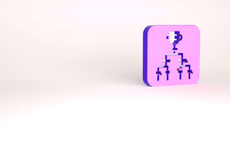 Purple Results and standing tables scoreboard championship tournament bracket icon isolated on white background. Minimalism concept. 3d illustration 3D render