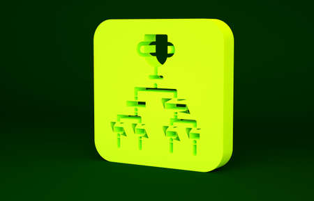 Yellow Results and standing tables scoreboard championship tournament bracket icon isolated on green background. Minimalism concept. 3d illustration 3D render Stockfoto