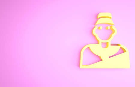 Yellow Baseball coach icon isolated on pink background. Minimalism concept. 3d illustration 3D render