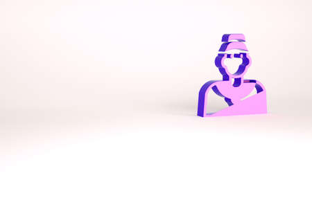 Purple Baseball coach icon isolated on white background. Minimalism concept. 3d illustration 3D render Banco de Imagens