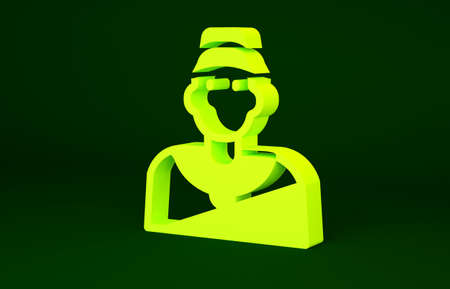 Yellow Baseball coach icon isolated on green background. Minimalism concept. 3d illustration 3D render Banco de Imagens