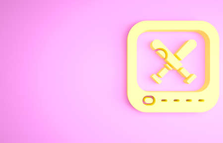 Yellow Monitor with baseball bat on the screen icon isolated on pink background. Online baseball game. Minimalism concept. 3d illustration 3D render