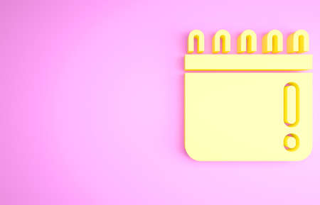 Yellow Calendar with baseball game icon isolated on pink background. Game day. Minimalism concept. 3d illustration 3D render