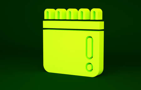 Yellow Calendar with baseball game icon isolated on green background. Game day. Minimalism concept. 3d illustration 3D render