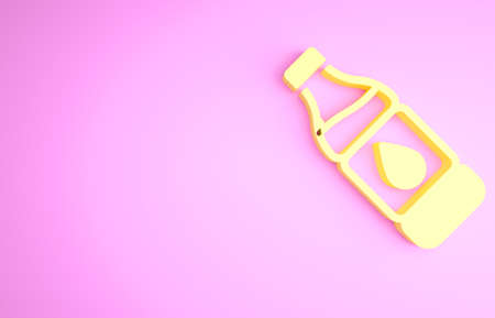 Yellow Bottle of water icon isolated on pink background. Soda aqua drink sign. Minimalism concept. 3d illustration 3D render Banco de Imagens