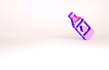 Purple Bottle of water icon isolated on white background. Soda aqua drink sign. Minimalism concept. 3d illustration 3D render