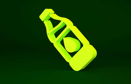 Yellow Bottle of water icon isolated on green background. Soda aqua drink sign. Minimalism concept. 3d illustration 3D render