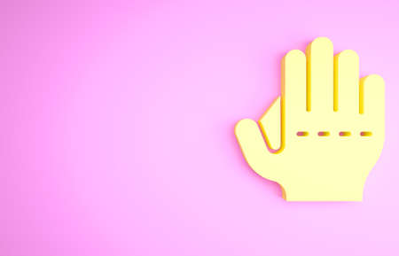 Yellow Baseball glove icon isolated on pink background. Minimalism concept. 3d illustration 3D render Banco de Imagens