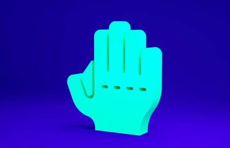 Green Baseball glove icon isolated on blue background. Minimalism concept. 3d illustration 3D render
