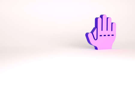 Purple Baseball glove icon isolated on white background. Minimalism concept. 3d illustration 3D render