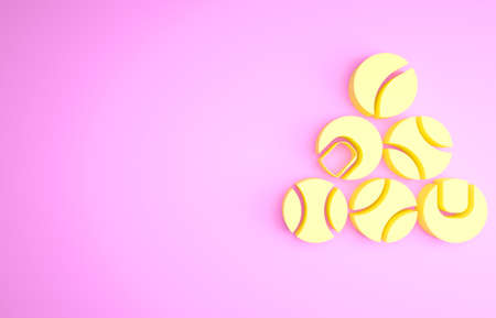 Yellow Baseball ball icon isolated on pink background. Minimalism concept. 3d illustration 3D render