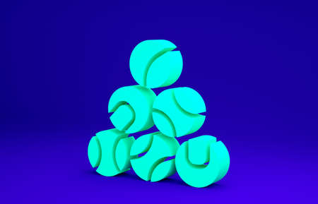 Green Baseball ball icon isolated on blue background. Minimalism concept. 3d illustration 3D render