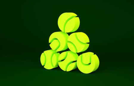 Yellow Baseball ball icon isolated on green background. Minimalism concept. 3d illustration 3D render