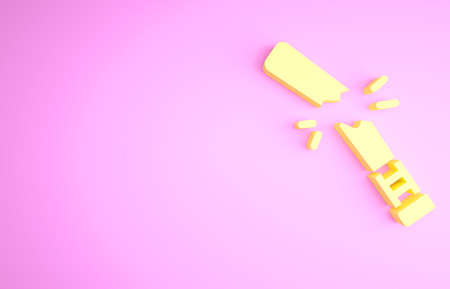 Yellow Broken baseball bat icon isolated on pink background. Minimalism concept. 3d illustration 3D render