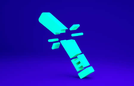 Green Broken baseball bat icon isolated on blue background. Minimalism concept. 3d illustration 3D render