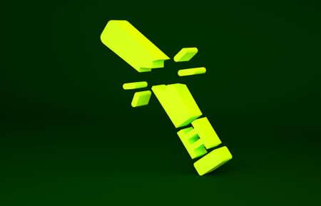 Yellow Broken baseball bat icon isolated on green background. Minimalism concept. 3d illustration 3D render