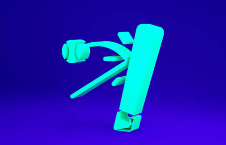 Green Baseball bat with ball icon isolated on blue background. Minimalism concept. 3d illustration 3D render