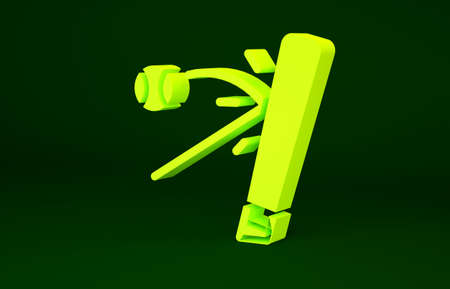 Yellow Baseball bat with ball icon isolated on green background. Minimalism concept. 3d illustration 3D render Banco de Imagens