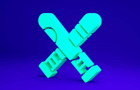 Green Crossed baseball bat icon isolated on blue background. Minimalism concept. 3d illustration 3D render