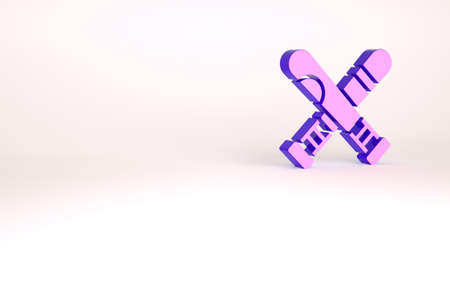 Purple Crossed baseball bat icon isolated on white background. Minimalism concept. 3d illustration 3D render