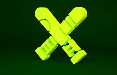 Yellow Crossed baseball bat icon isolated on green background. Minimalism concept. 3d illustration 3D render