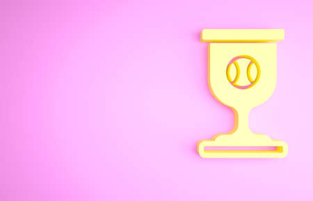 Yellow Award cup with baseball ball icon isolated on pink background. Winner trophy symbol. Championship or competition trophy. Sports achievement. Minimalism concept. 3d illustration 3D render