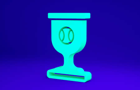 Green Award cup with baseball ball icon isolated on blue background. Winner trophy symbol. Championship or competition trophy. Sports achievement. Minimalism concept. 3d illustration 3D render