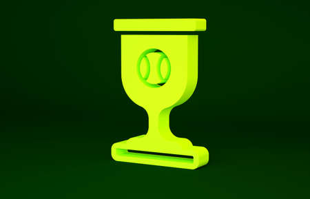 Yellow Award cup with baseball ball icon isolated on green background. Winner trophy symbol. Championship or competition trophy. Sports achievement. Minimalism concept. 3d illustration 3D render