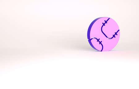 Purple Baseball ball icon isolated on white background. Minimalism concept. 3d illustration 3D render Banco de Imagens