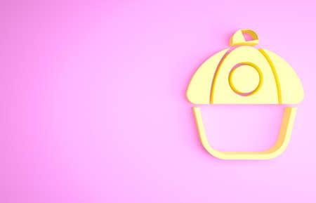Yellow Baseball cap icon isolated on pink background. Sport equipment. Sports uniform. Minimalism concept. 3d illustration 3D render Banco de Imagens