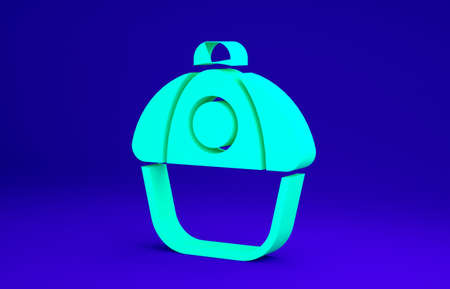 Green Baseball cap icon isolated on blue background. Sport equipment. Sports uniform. Minimalism concept. 3d illustration 3D render Banco de Imagens