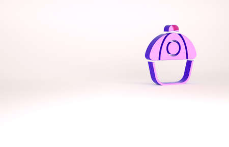 Purple Baseball cap icon isolated on white background. Sport equipment. Sports uniform. Minimalism concept. 3d illustration 3D render